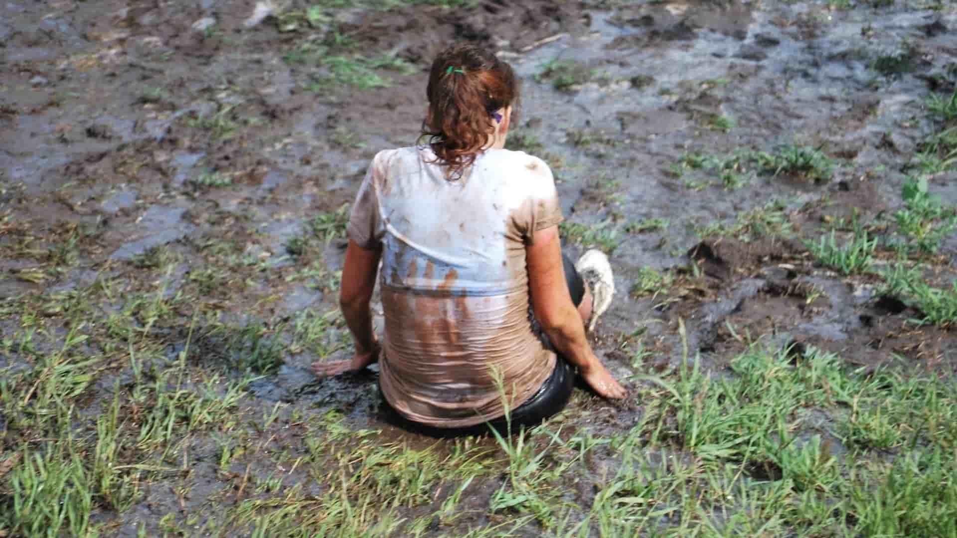 Mud sliding in rainy day