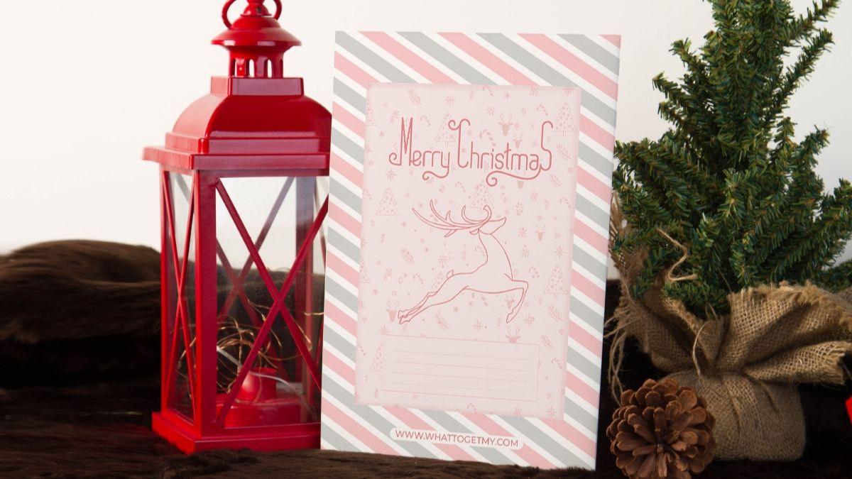 Printable christmas card for baby girl