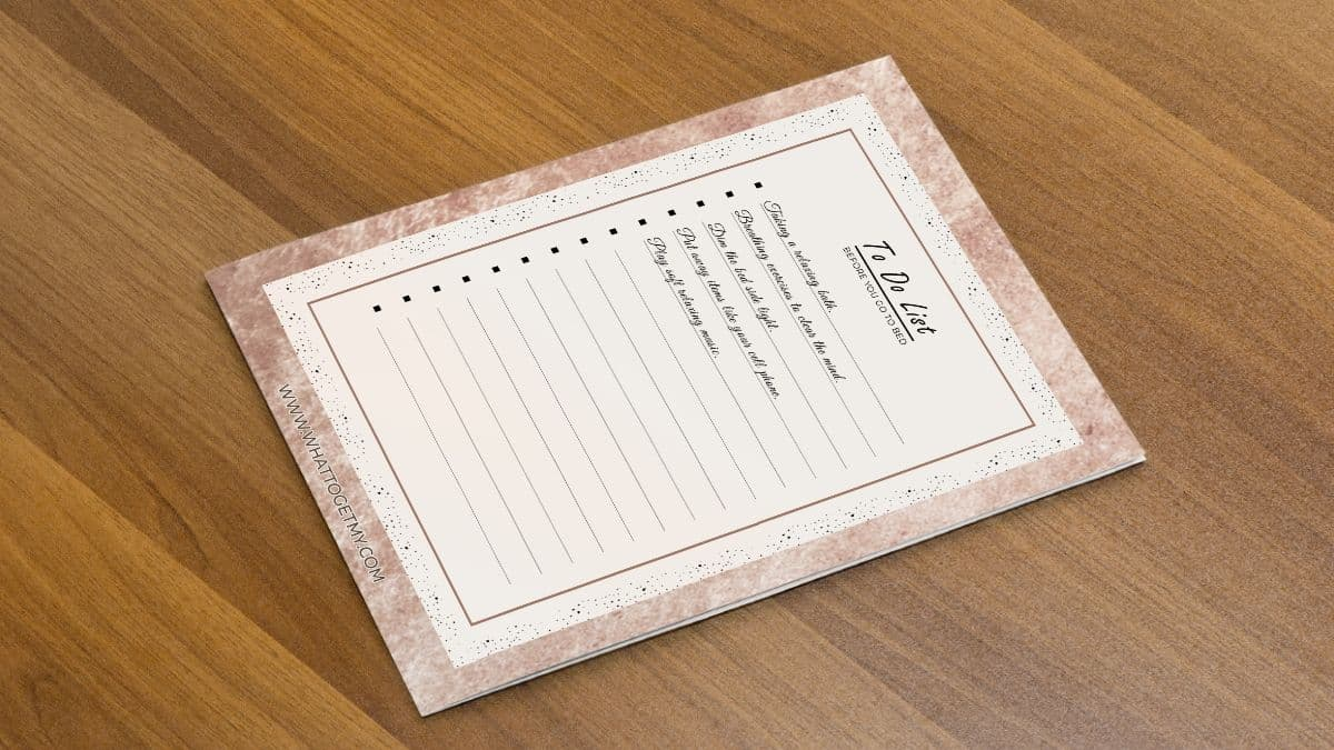 free printable to do list before you go to sleep
