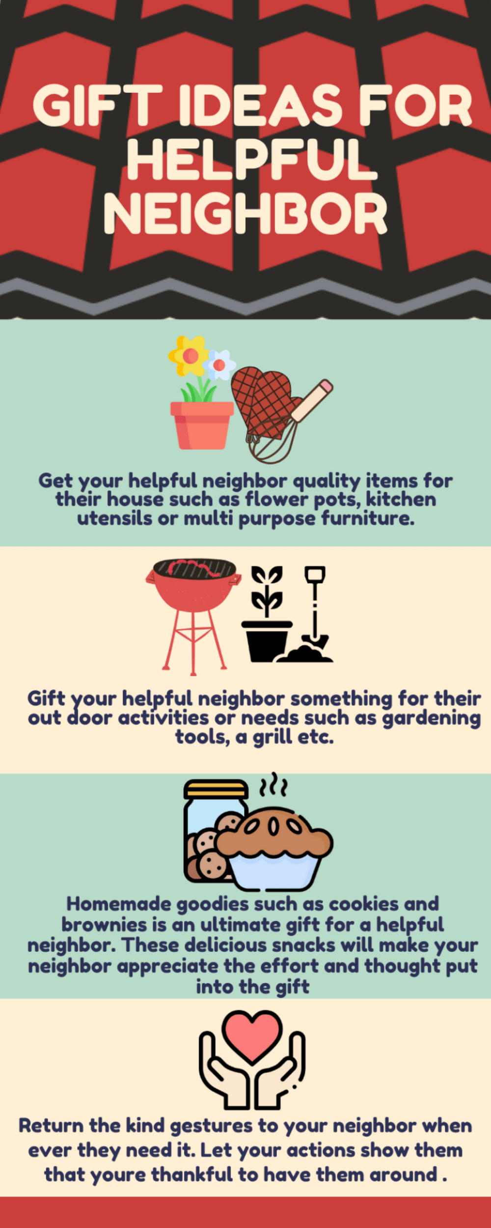 Infographic gift ideas for helpful neighbor Checklist