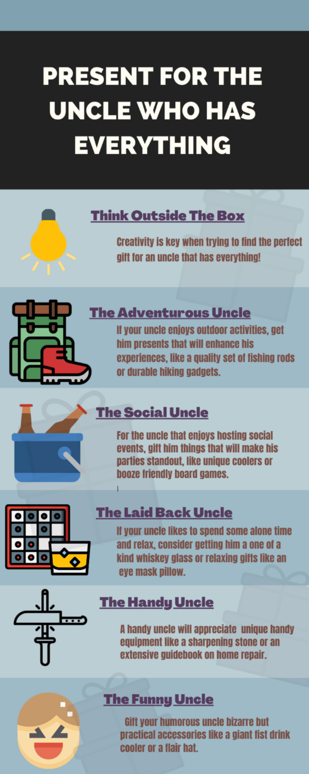 Infographic presents for uncle who has everything whattogetmy