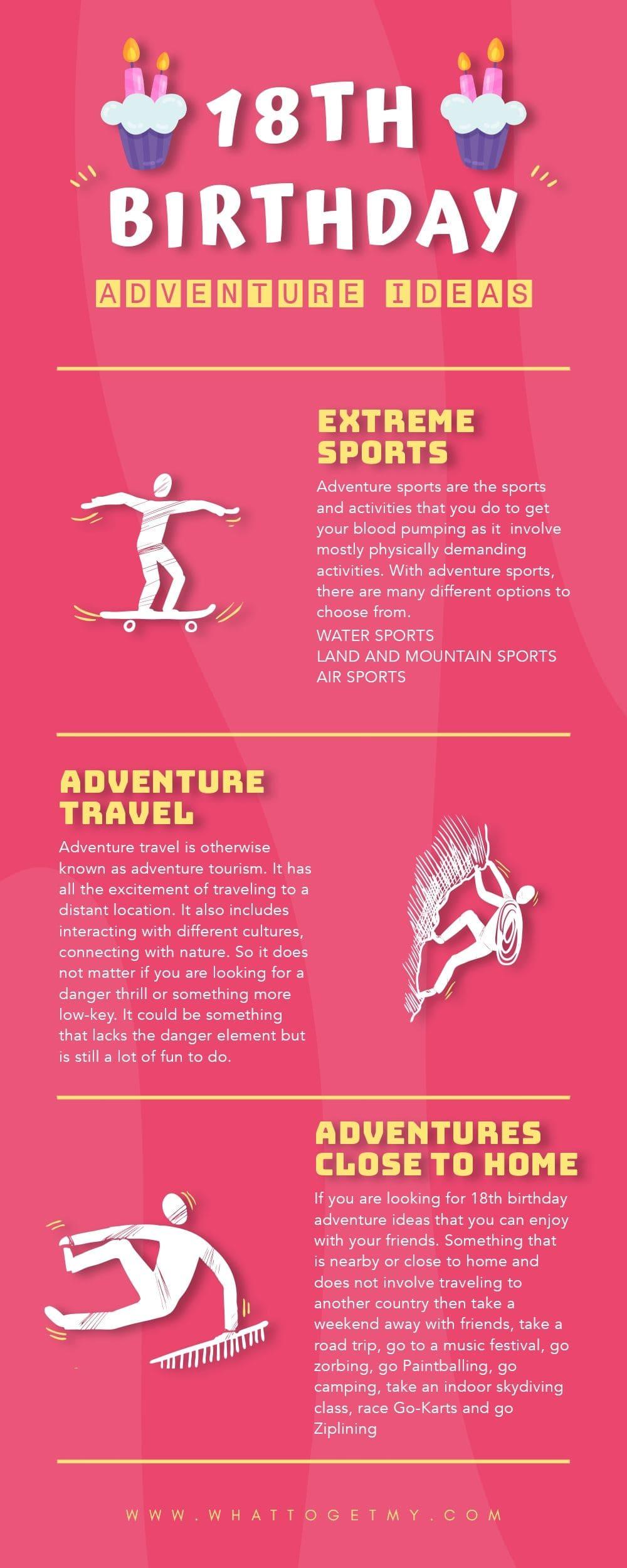 Infographic 18th birthday adventure ideas