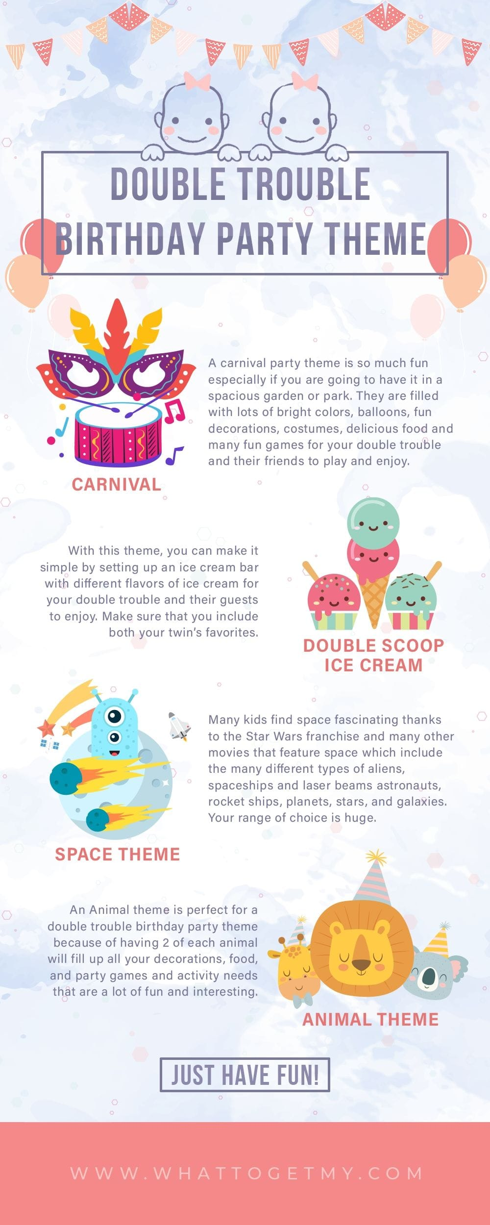 Infographic Double Trouble Birthday Party Theme Twins Checklist