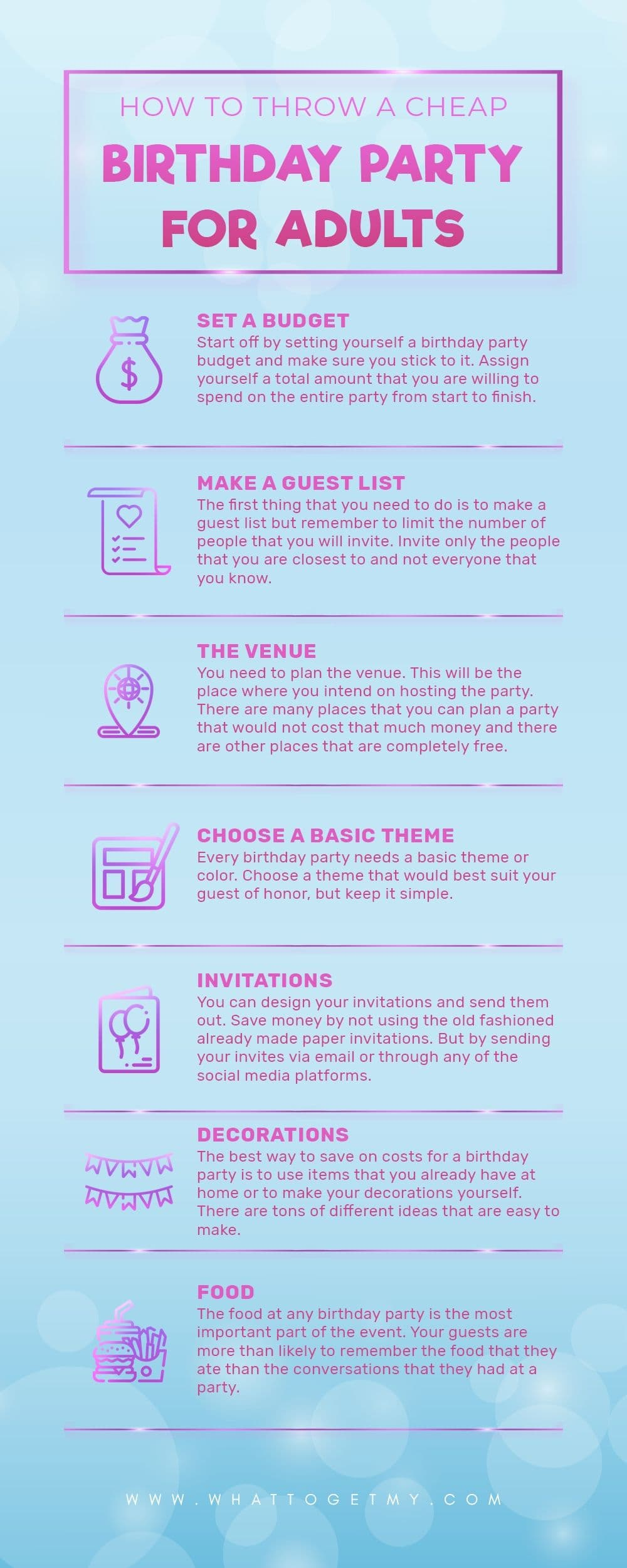 Infographic How To Throw A Cheap Birthday Party For Adults