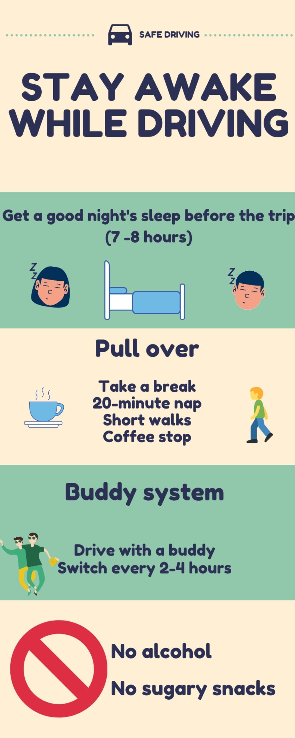 Infographic Stay awake while driving on road