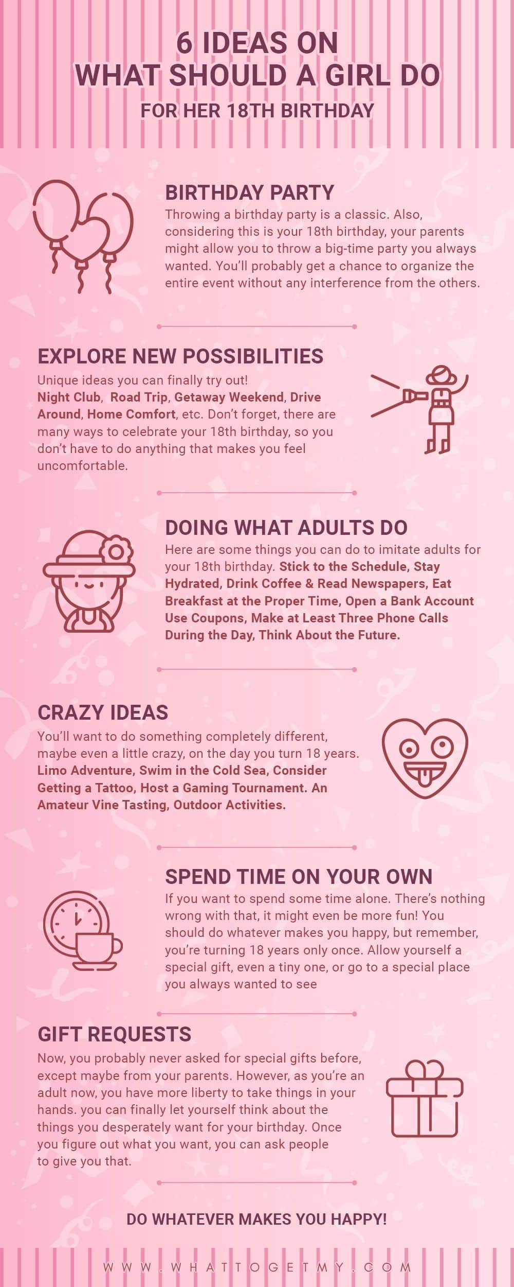 Infographic What Should A Girl Do For Her 18th Birthday