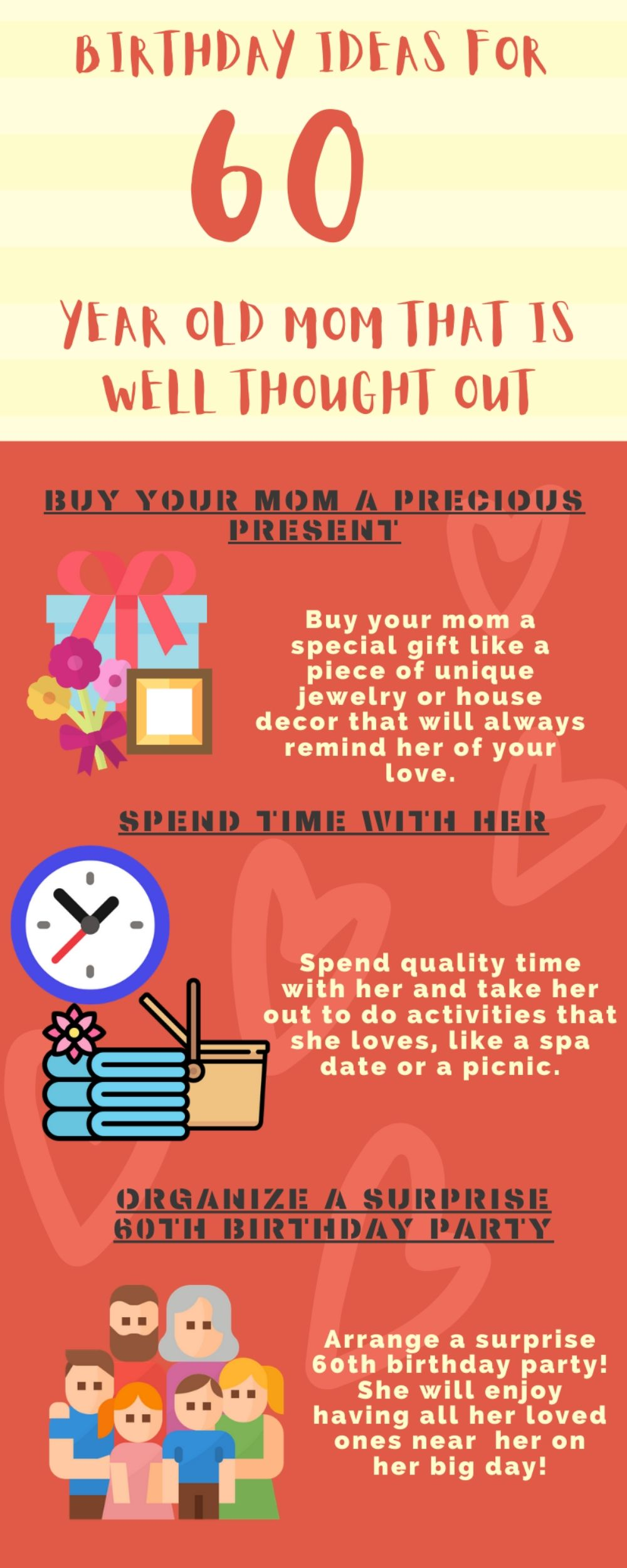 Infographic birthday ideas for 60 year old mom, women