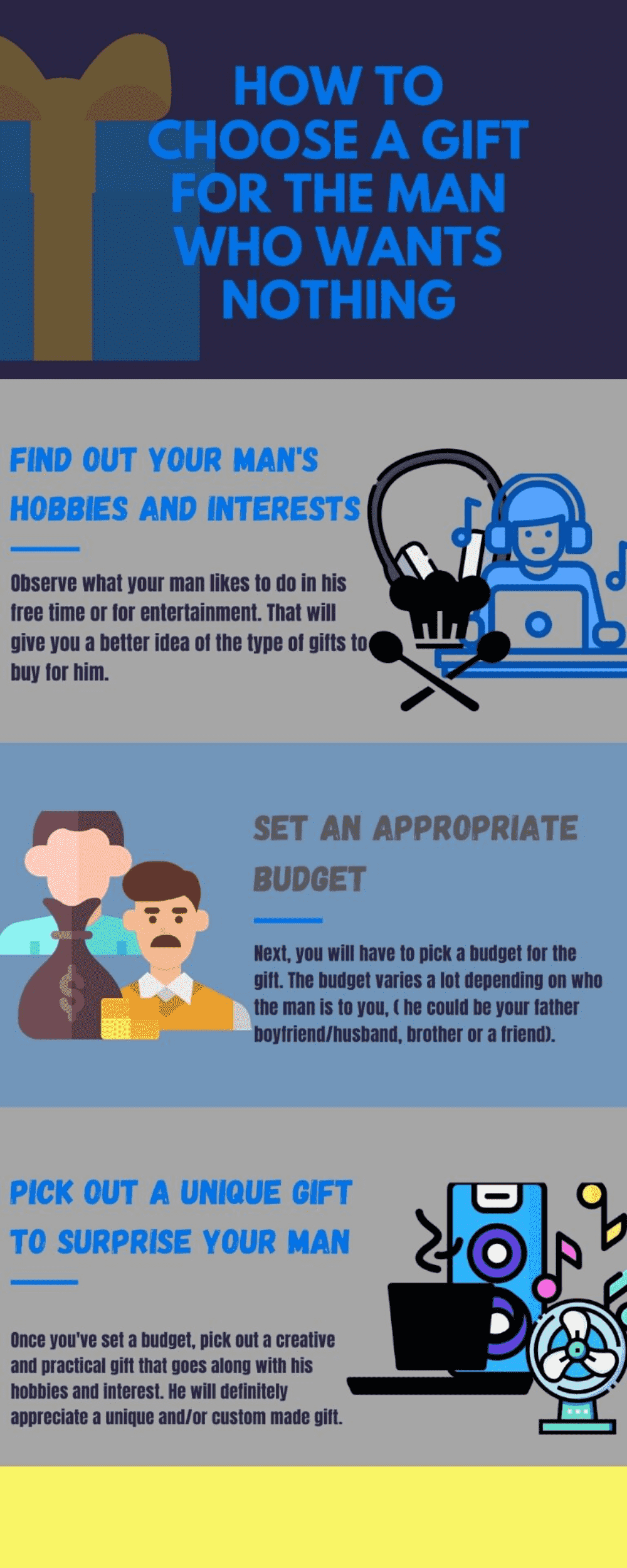 Infographic choose a gift for the man who wants nothing