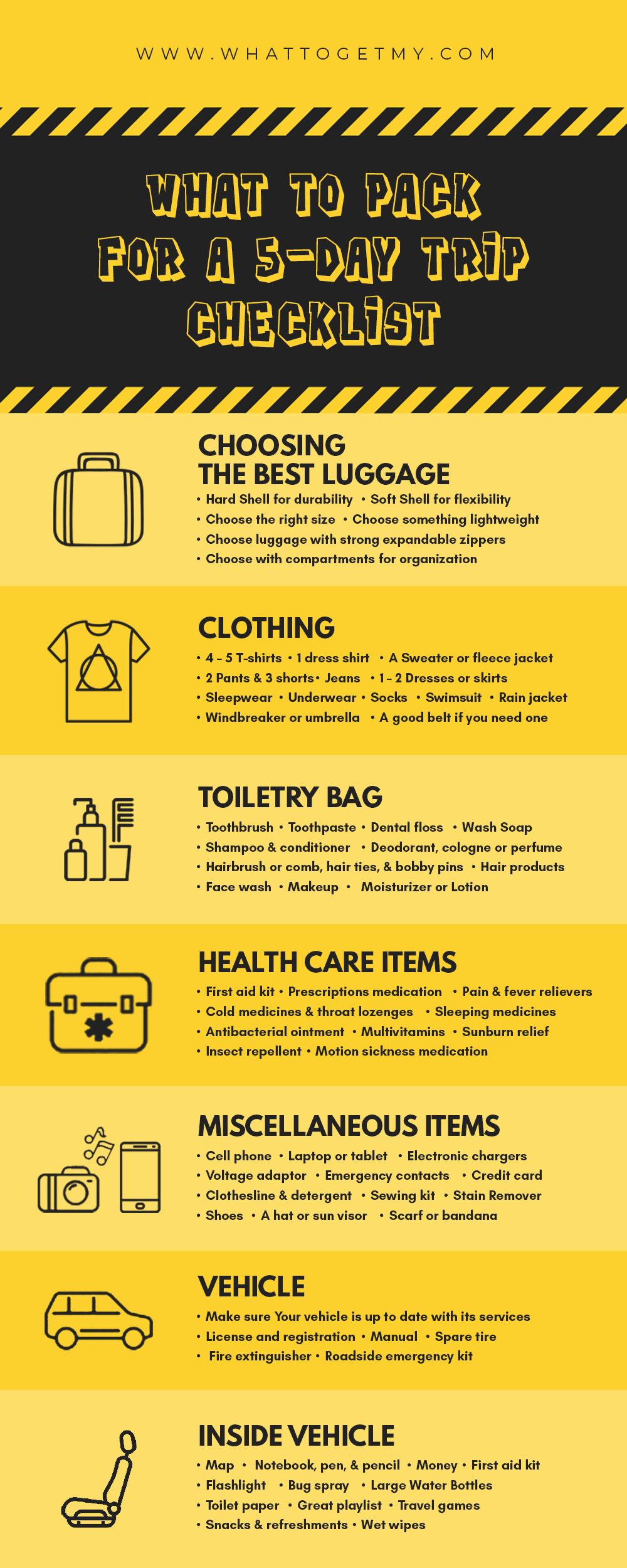 Inforgraphic for 5-Day Trip Checklist
