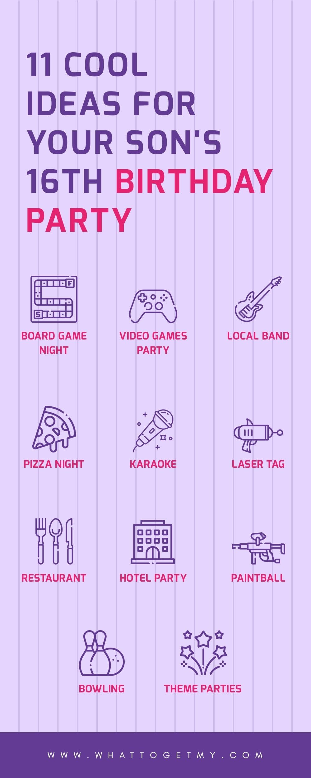 Infographic 11 Cool Ideas For Your Son's 16th Birthday Party
