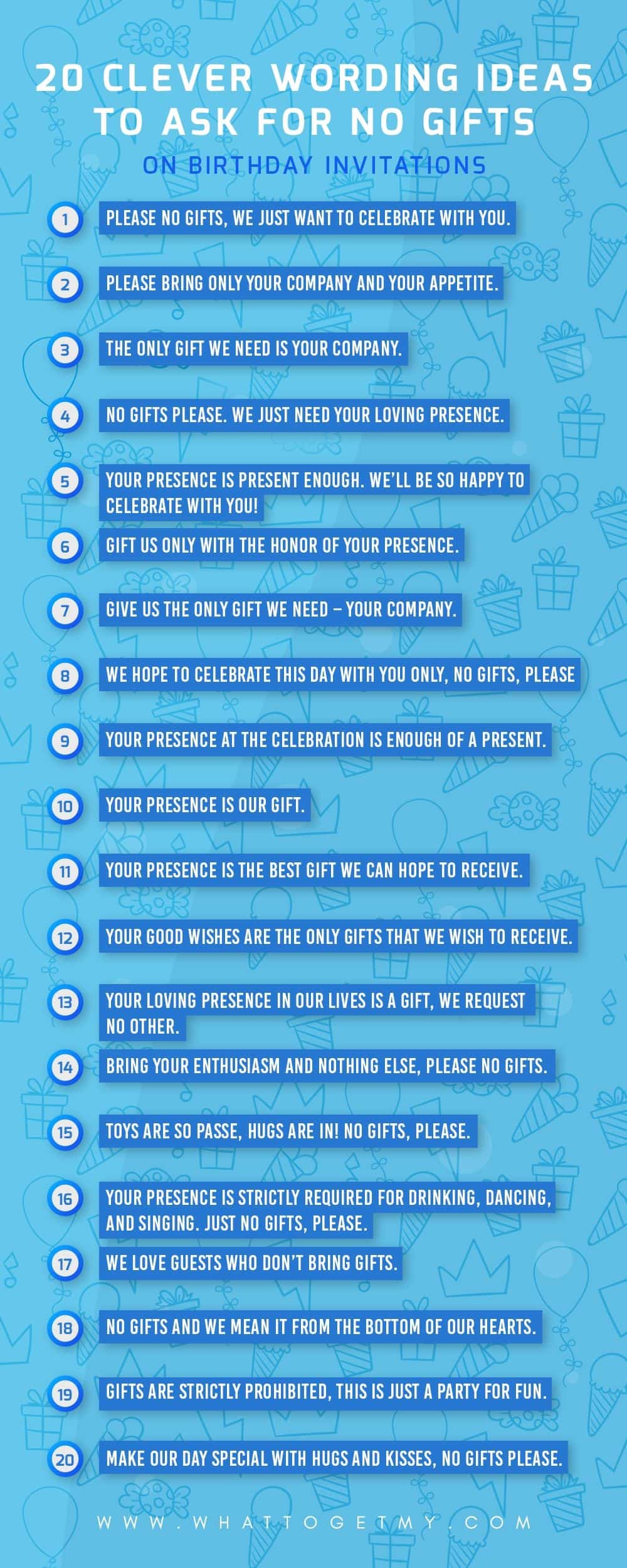 Infographic Clever Wording Ideas to Ask for No Gifts on Birthday Invitations