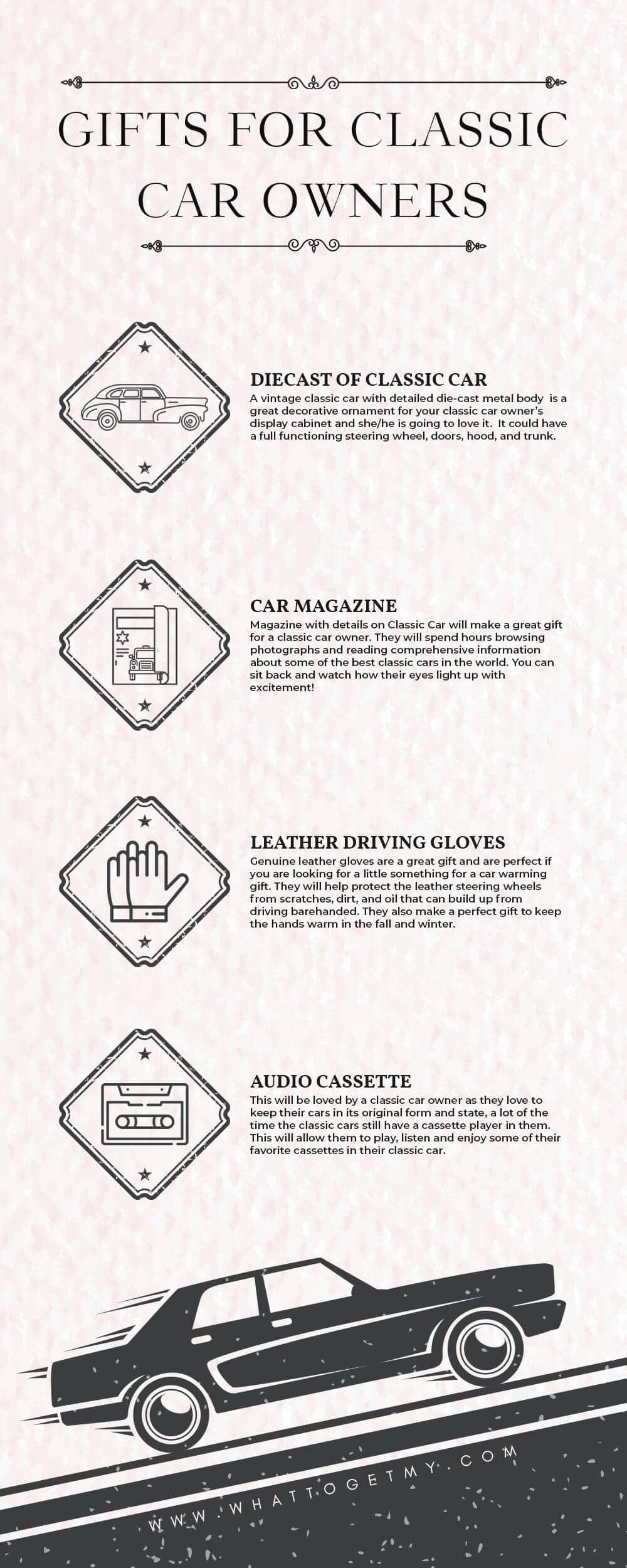 Infographic GIFTS FOR CLASSIC CAR OWNERS