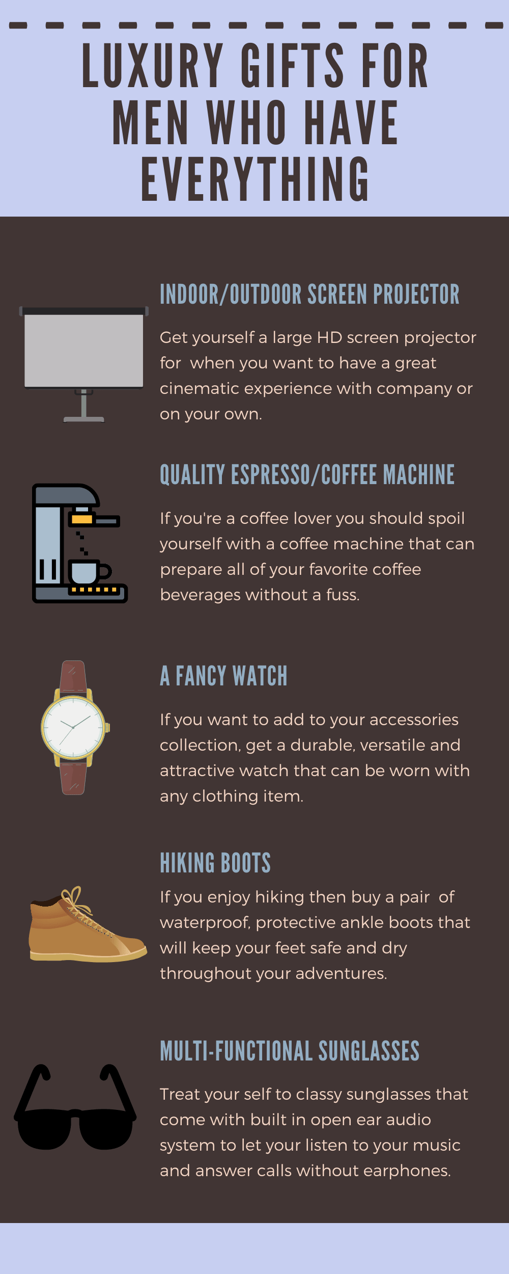 Infographic Luxury gifts for men