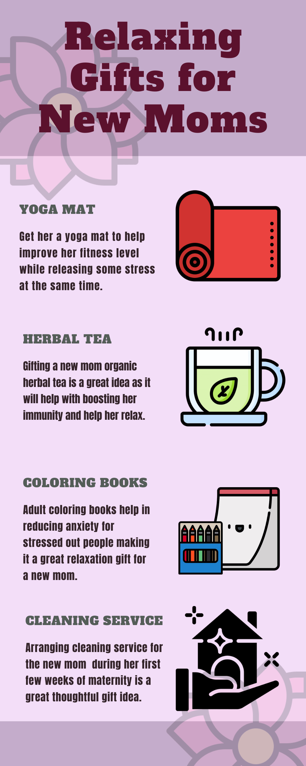 Infographic Relaxing gifts for new mom