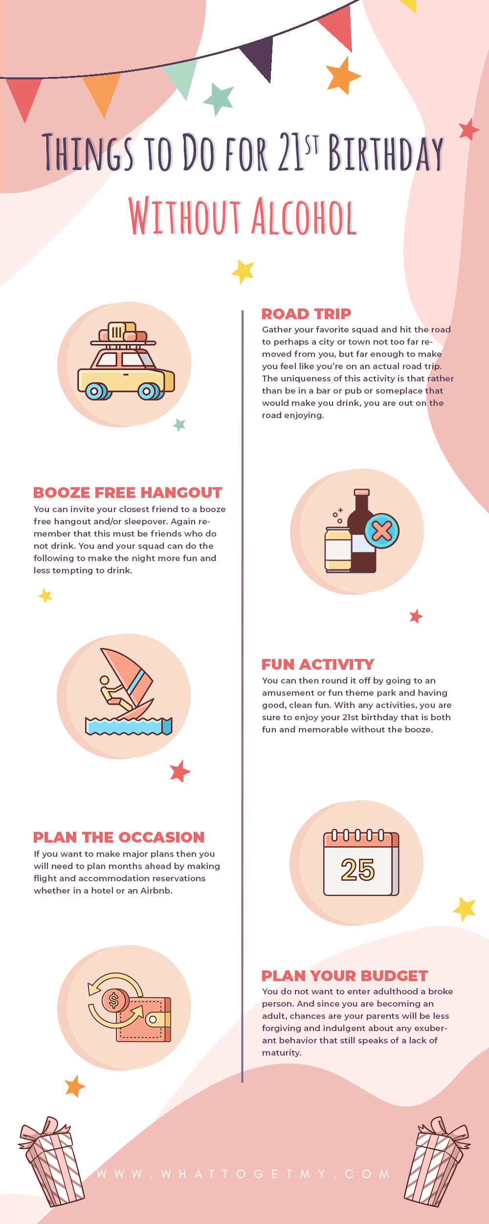 Infographic Things to Do for 21st Birthday Without Alcohol