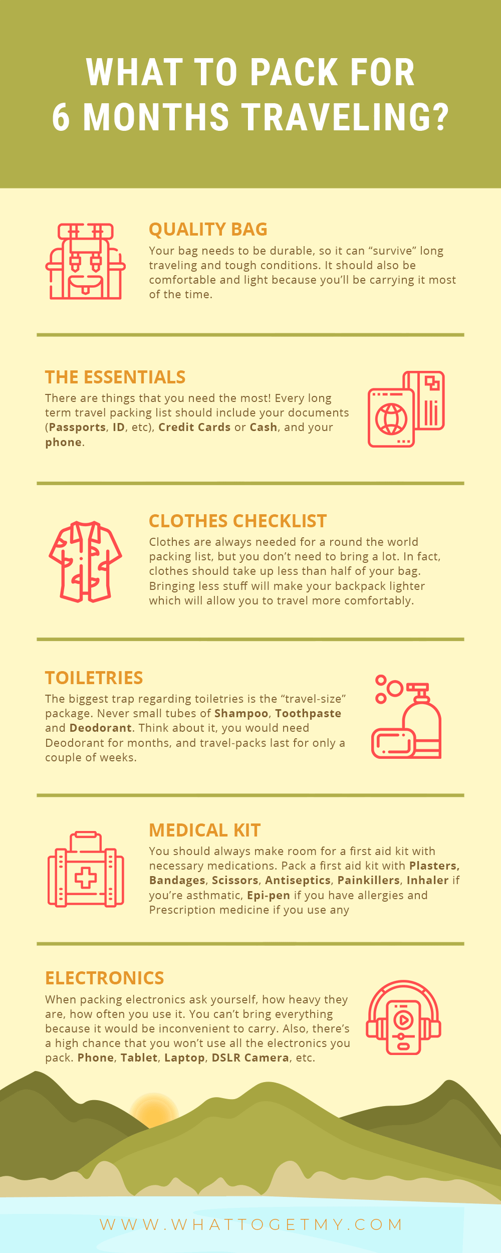 Infographic What to Pack for 6 Months Traveling