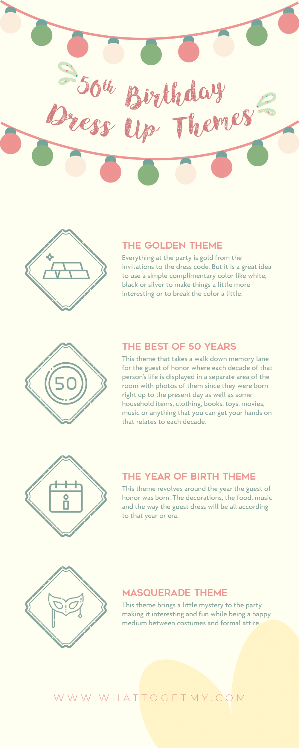 Infographic 50th Birthday Dress Up Themes