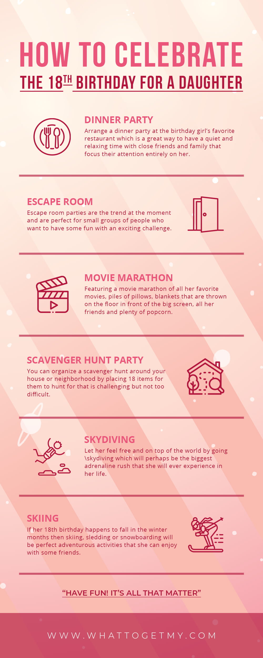 Infographic How to Celebrate the 18th Birthday for a Daughter
