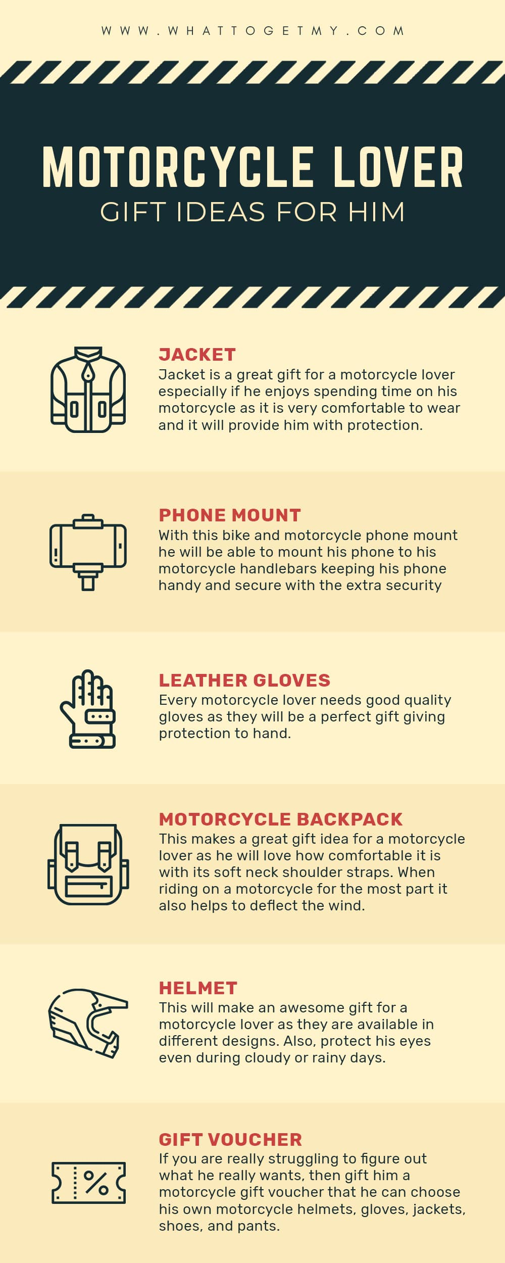Infographic Motorcycle Lover Gift Ideas For Him