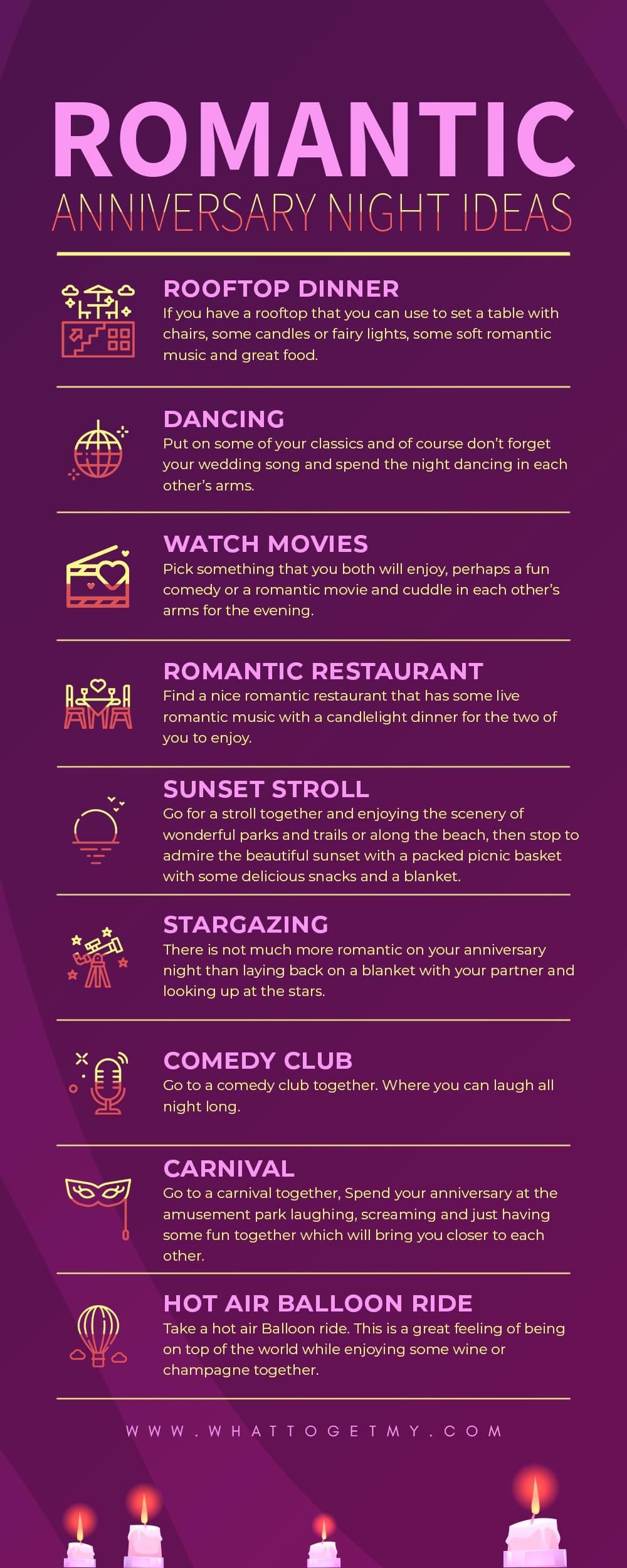 Infographic Romantic Anniversary Night Ideas