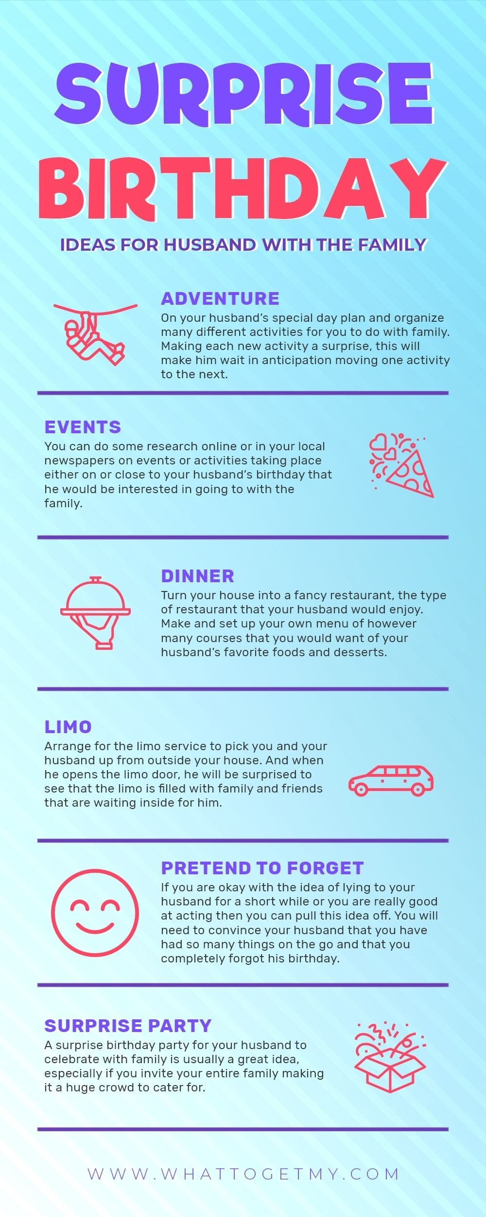 Infographic Surprise Birthday Ideas For Husband With The Family-min