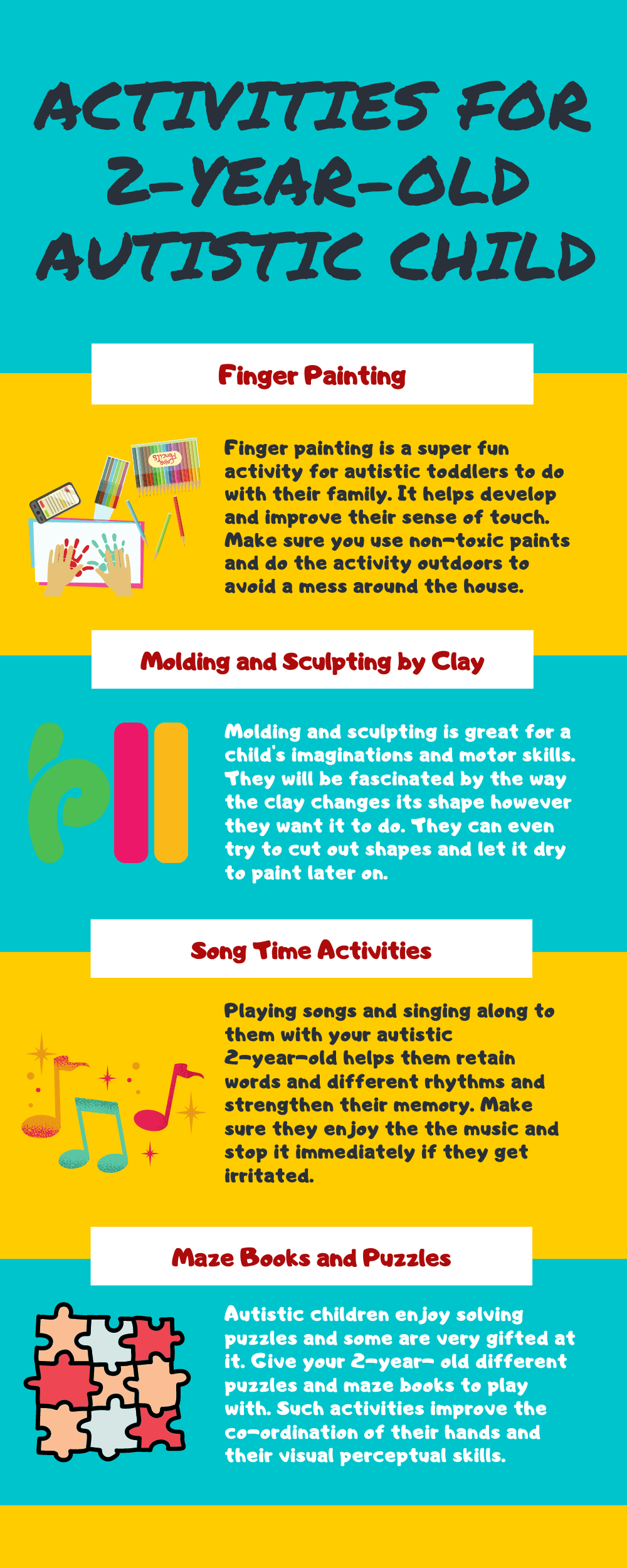 Infographic  Activities for  2-year-old autistic child