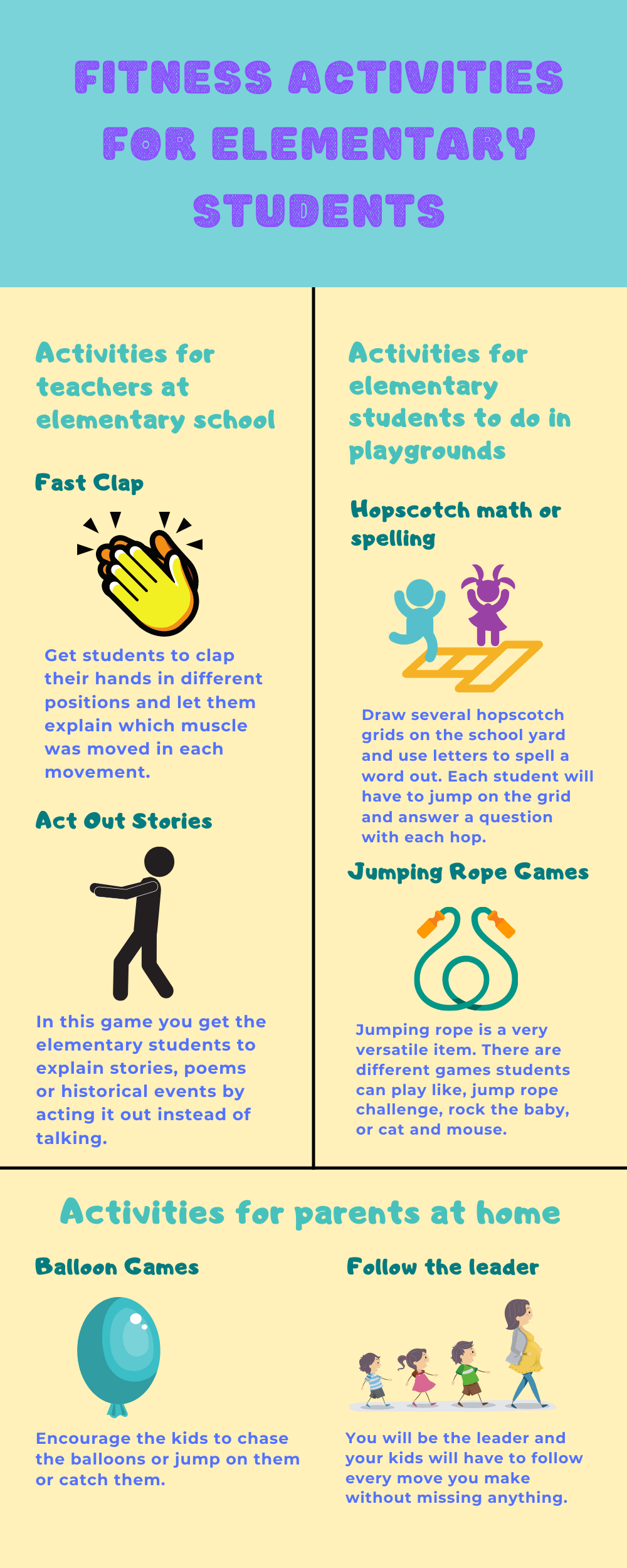 Infographic  Fitness activities for Elementary students