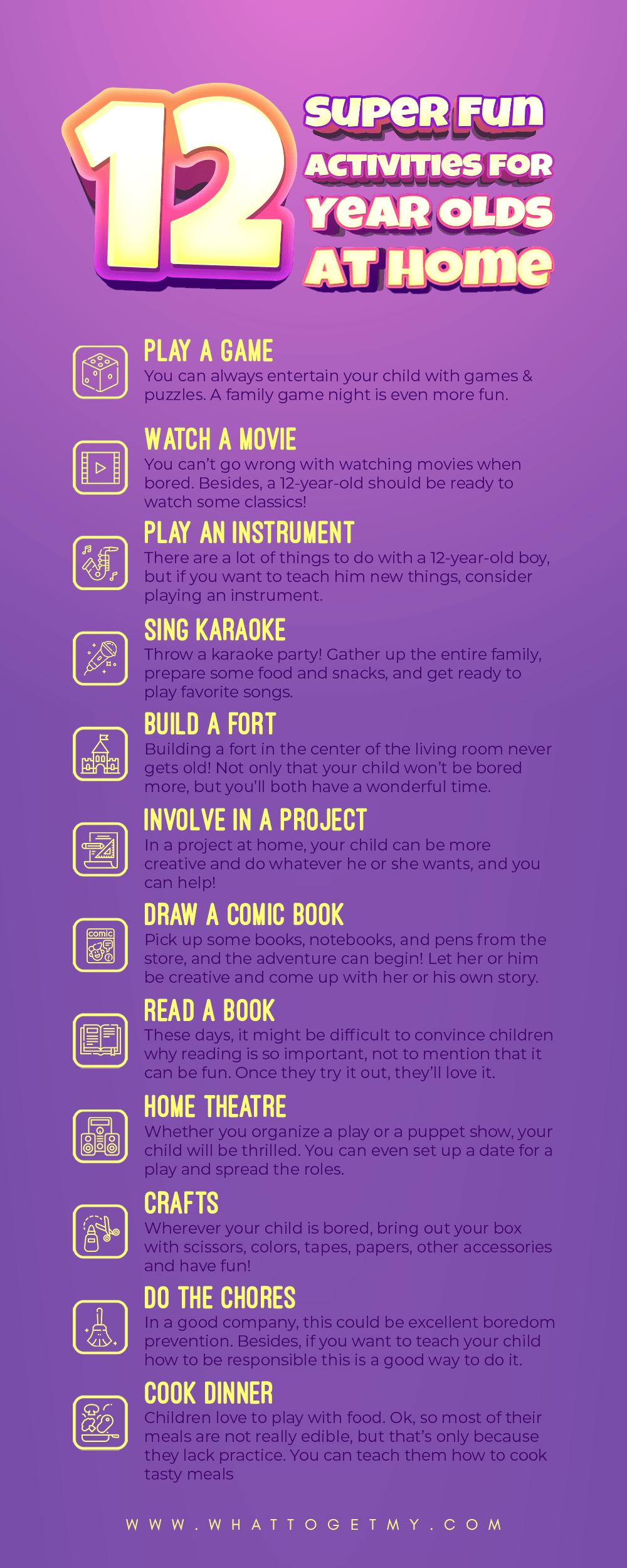 Infographic 12 Super Fun Activities for 12 Year Olds At Home