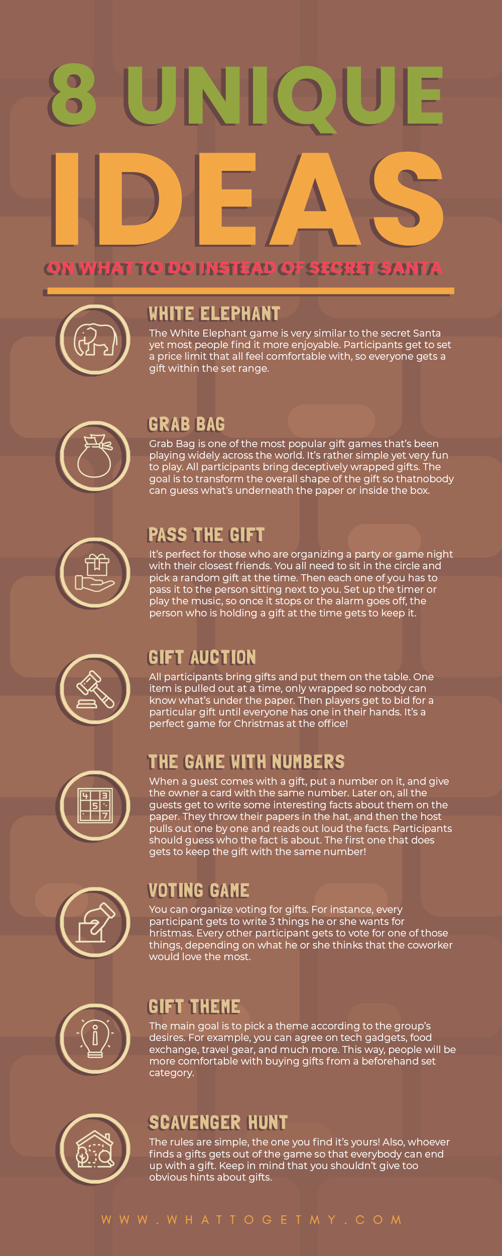 Infographic 8 Unique Ideas on What to Do Instead of Secret Santa