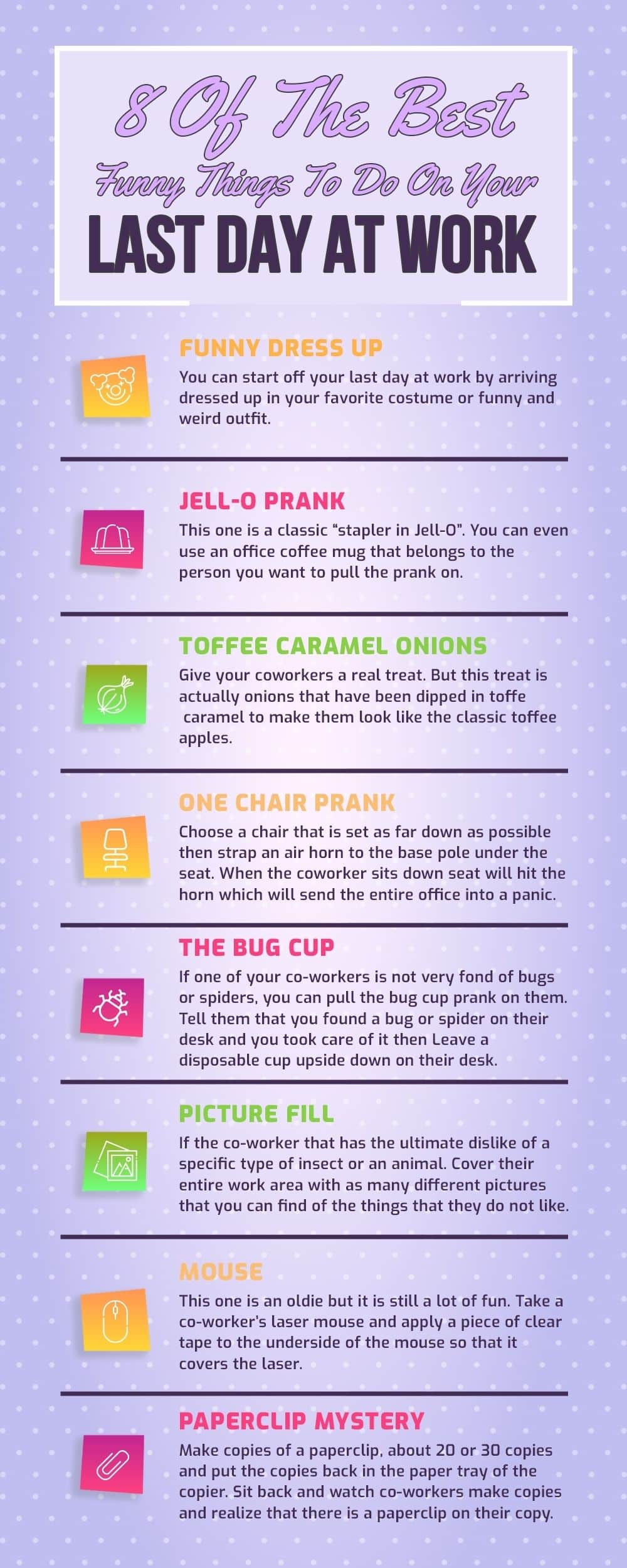 Infographic 8 of The Best Funny things to do on your last day at work