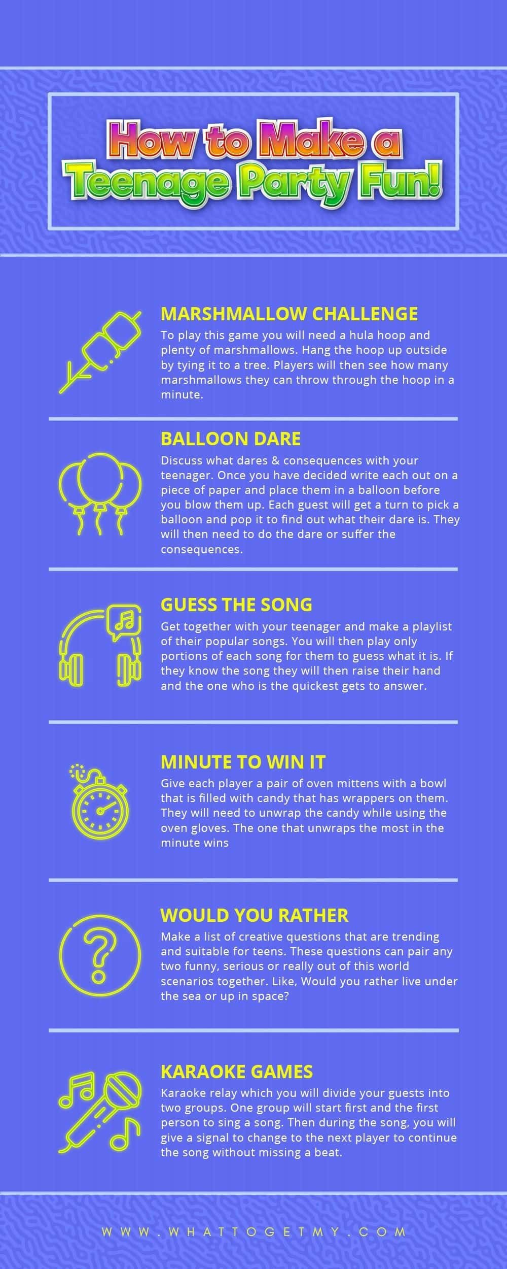 Infographic How to Make a Teenage Party Fun