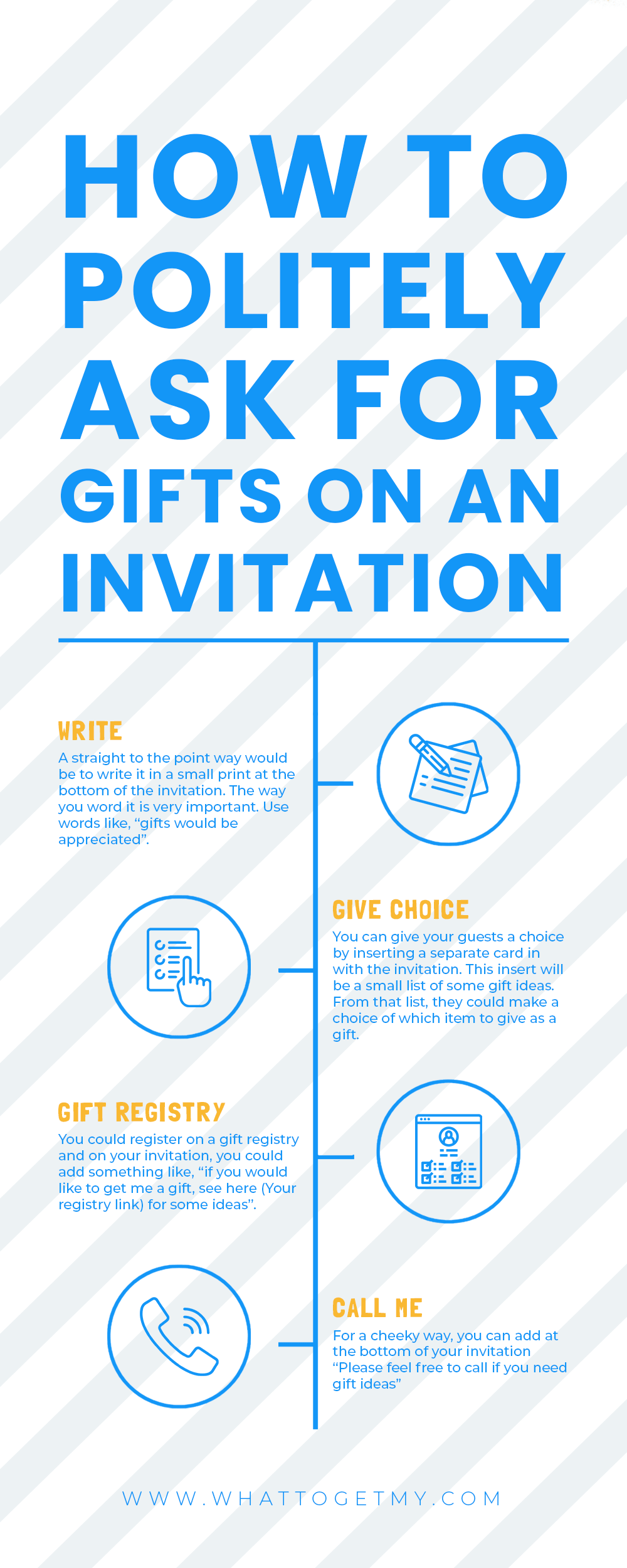 Infographic How to politely ask for gifts on an invitation