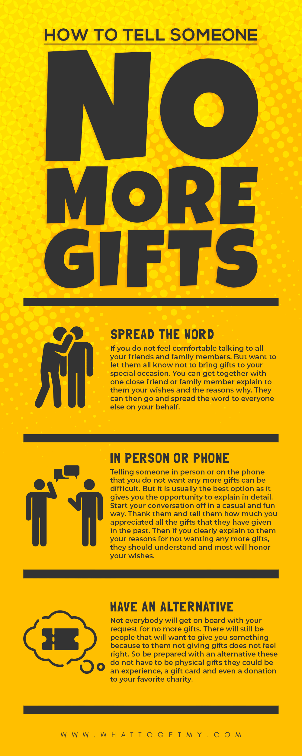 Infographic How to tell someone no more gifts
