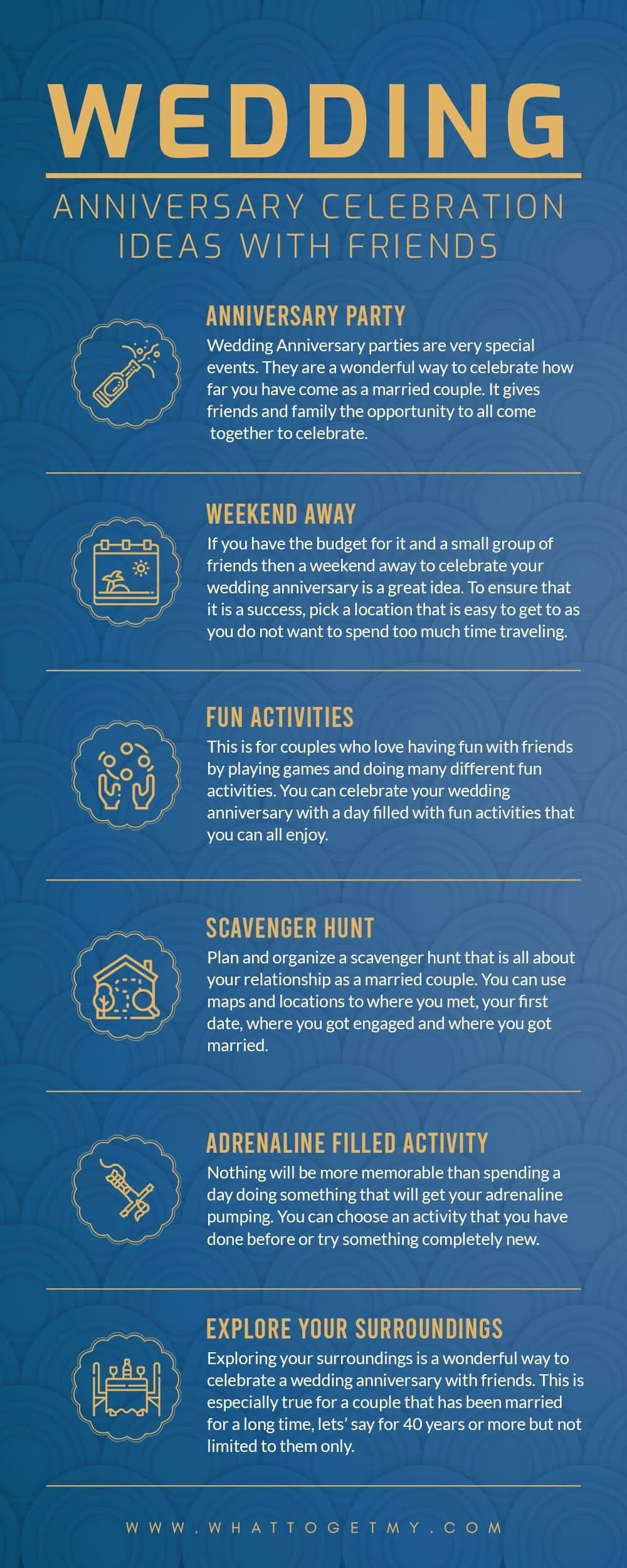 Infographic Wedding Anniversary Celebration Ideas With Friends