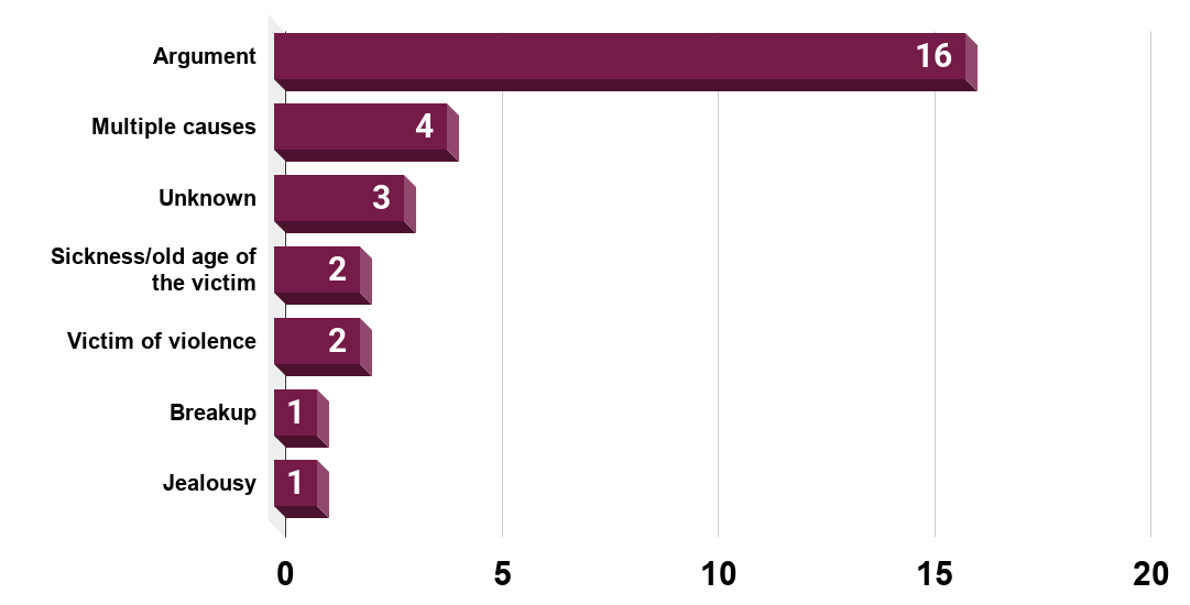 Number of male victims of violent homicide by their partner in France in 2018, by motive.
