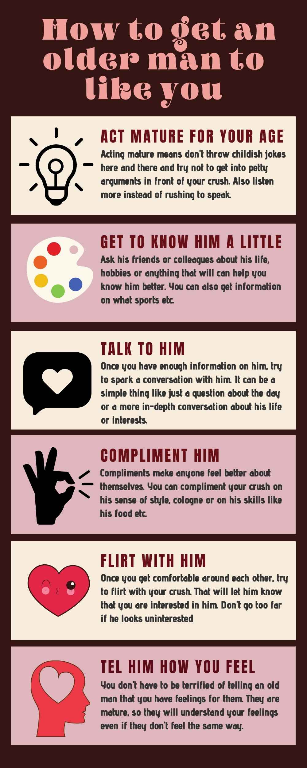 How to get an older man to like you