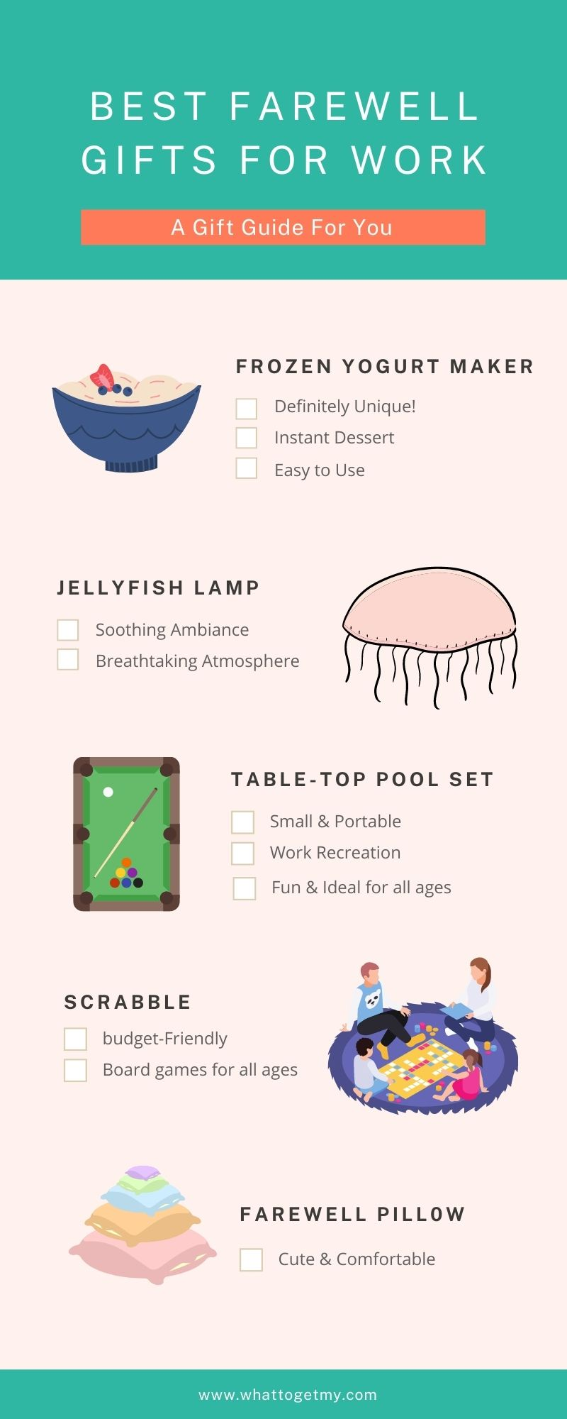 Infographic Farewell gifts