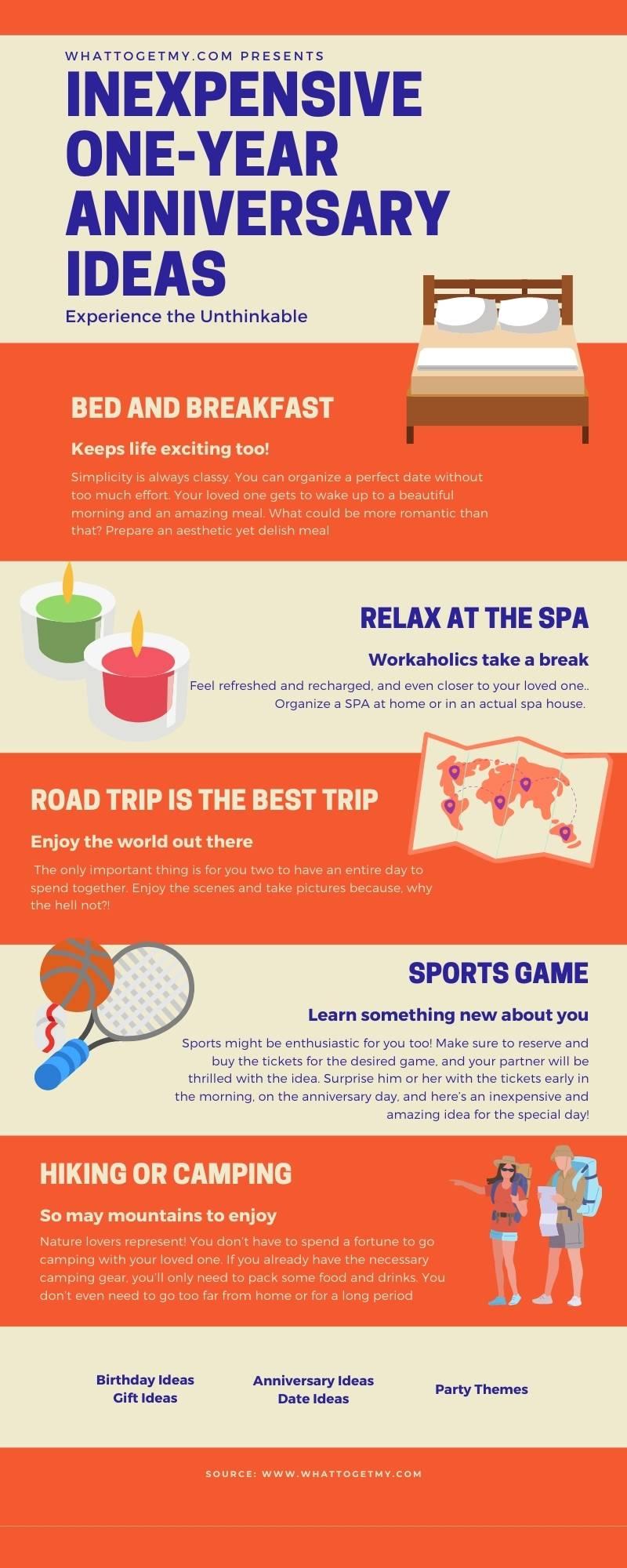 Infographic Inexpensive One Year Anniversary Ideas