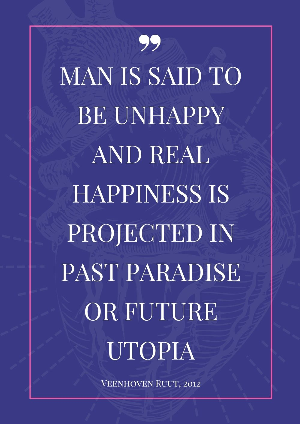 Man is said to be unhappy and real happiness is projected in past paradise or future utopia